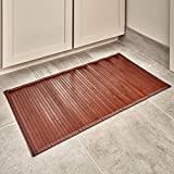iDesign Formbu Bamboo Floor Mat Non-Skid, Water-Resistant Runner Rug for Bathroom, Kitchen, Entryway, Hallway, Office, Mudroom, Vanity, 17