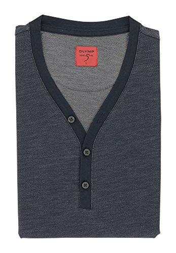 OLYMP Herren Henley T-Shirt Aus der Serie Level Five | Body Fit mit Rundhals & Knopfleister | 76% Baumwolle 24% Polyester | Gr. L Marine Blau