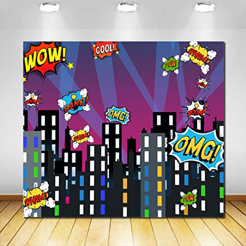 Superhero Cityscape Photography Backdrop for Children Super Hero Birthday Party Photo Studio Props Background Wall -