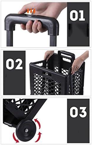 ショッピングカート ショッピングカートトロリー折りたたみロード50kg PP素材、家庭食料品買い物用 (色 : B)