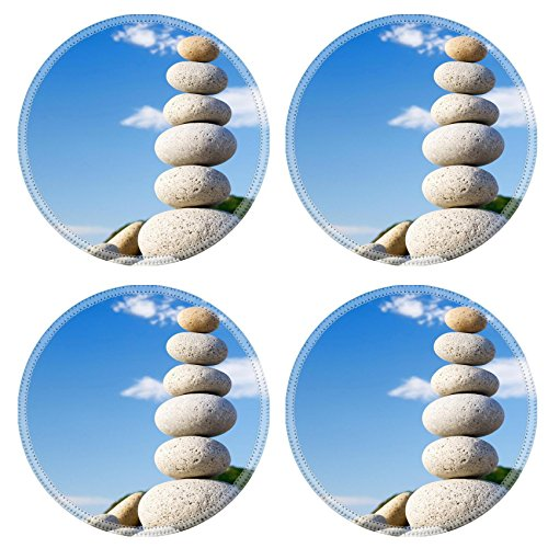 MSD Round Coasters Non-Slip Natural Rubber Desk Coasters design 19315690 Round stones for meditation laying on seacoast - Seacoast Natural