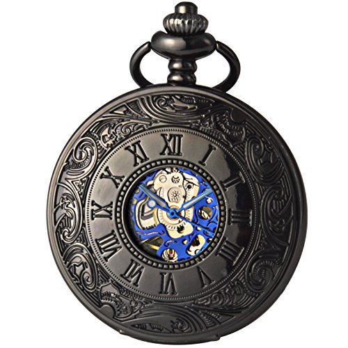 Smart.Deal Antique Black Hollow Case Dark Blue Retro Roman Numerals Dial Mechanical Pocket Watch For Men (Pocket Watch Blue Dial compare prices)