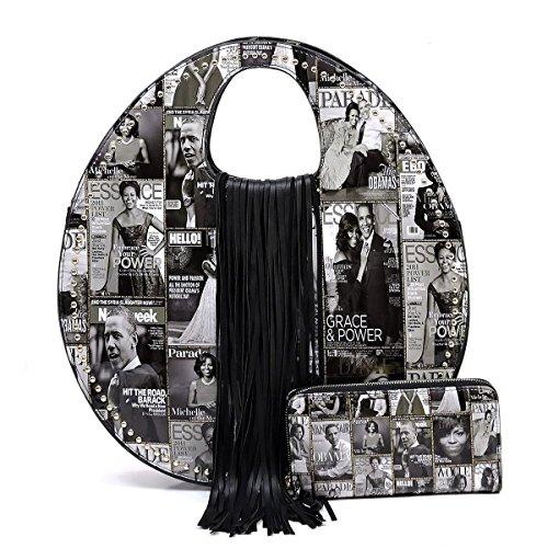 Magazine Cover Collage Fringe Studded Round Satchel + Wallet- Black