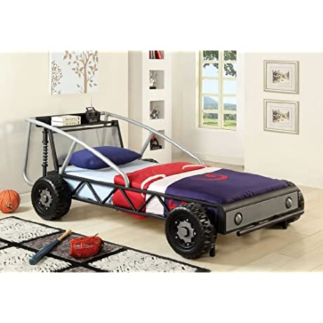 Off Road Racer Silver And Black Metal Frame Boys Kids Twin Size Race Car Bed With Metal Front Grill