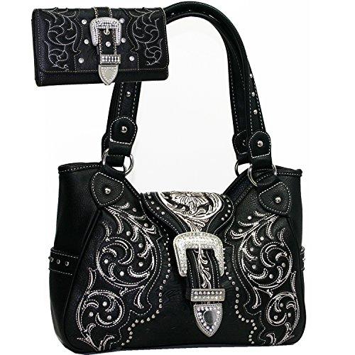 Western Studded Embroidered Rhinestone Conealed Carry Gun Purse Handbag Wallet Set - Black