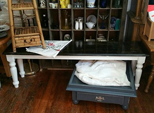 Rustic farmhouse style Entryway Bench Shabby Chic Heavily Distressed dover white ebony stain white