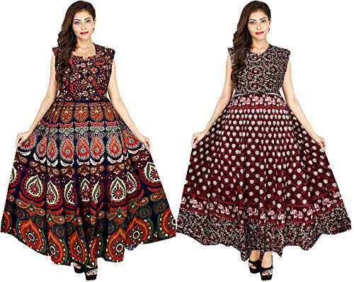 New Krishna Fashions Cotton Rajasthani Traditional Women's Maxi Long Dress Jaipuri Printed (Free Size Upto 44-XXL) Pack…