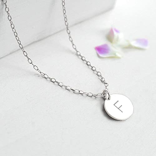 f357de13249e3 Personalised Sterling Silver Little Initial Disc Pendant Necklace ...