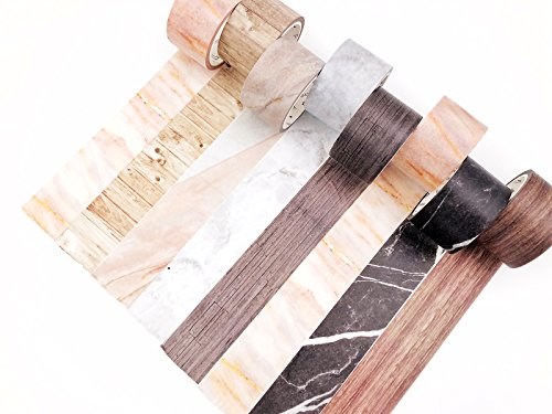 Washi Paper Tape Set 8 Rolls Decorative Masking Wood Grain & Marble Multi Type DIY Tape -