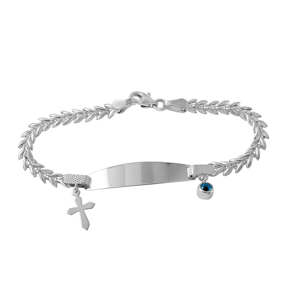Fine 14k Gold Religious Cross Baby ID Bracelet with Evil Eye 5.5''