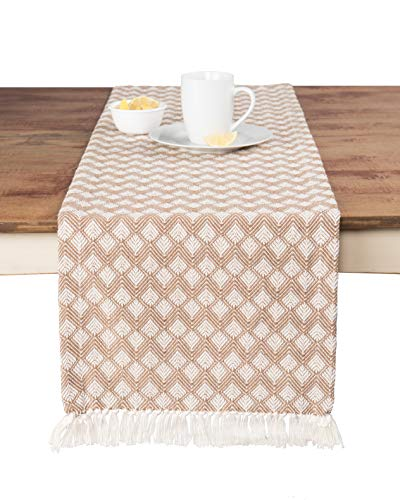 Sticky Toffee Cotton Woven Table Runner with Fringe, Scalloped Diamond, Tan, 14 in x 72 in ()