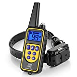 Dog Training Collar, Rechargeable & Waterproof with 1000ft Remote Controller Shock Collar Beep Vibrating Shock Electronic Collar for Small/Medium/Large Dogs, Adjustable Intensity