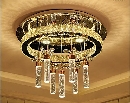 Modern simple bubble column crystal lamp rectangular ceiling lamp warm living room lighting TA0122PY6 ( Size : D95X75CM WHITE LIGHT (Crystal Rectangular Column)