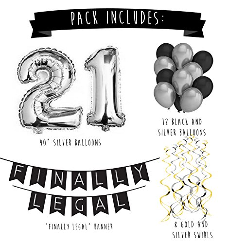 21st Birthday Party Pack Black Silver