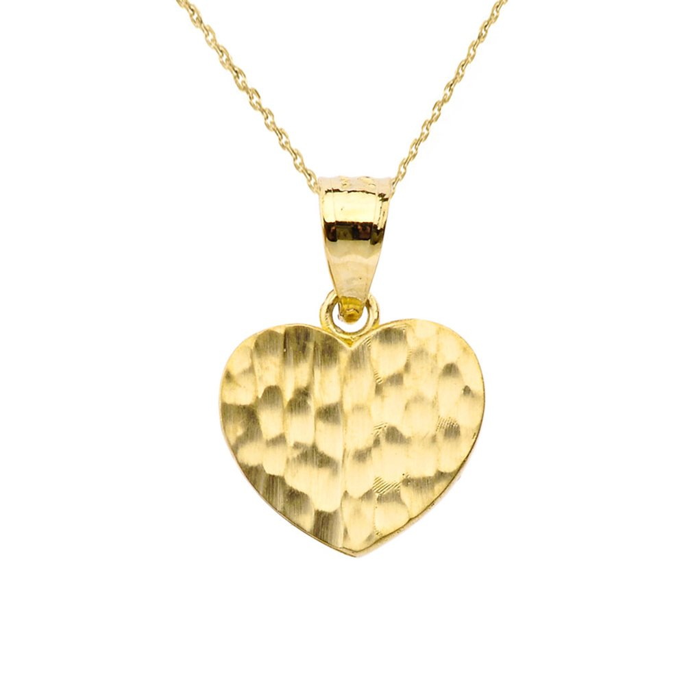 Fine 10k Yellow Gold Love Hammered Heart Charm Pendant Necklace and Earring Set, 18'' by Claddagh Gold (Image #2)