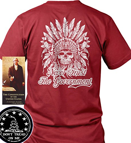 Sons of Libery Never Trust The Government. Red/LRG T-Shirt. Made in USA by Sons Of Liberty
