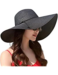 a59ebef85f0 Womens Wide Brim Straw Hat Floppy Foldable Roll up Cap Beach Sun Hat UPF 50+