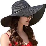 Best Sun Hats - Lanzom Womens Wide Brim Straw Hat Floppy Foldable Review