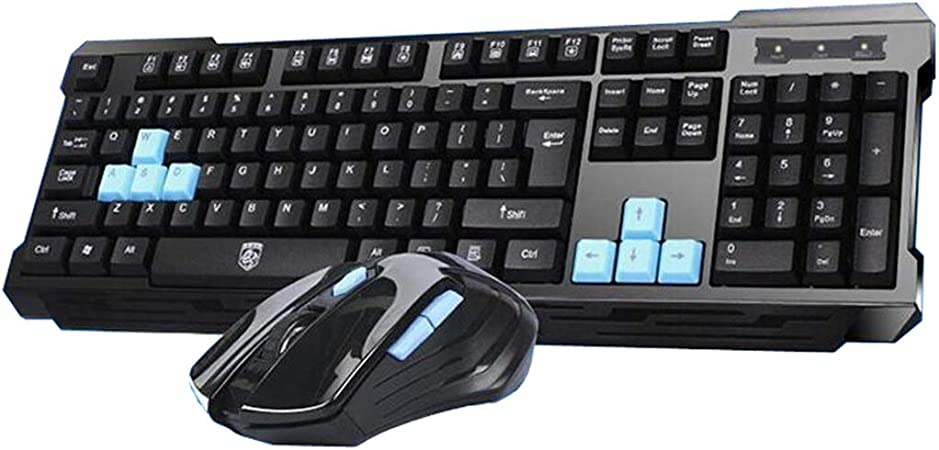 Guanwen Wireless Keyboard and Mouse Set 1200 DPI Mouse with Nano USB Receiver for Laptop PC Notebook Black 2.4GHz Compact Ergonomic Keyboard