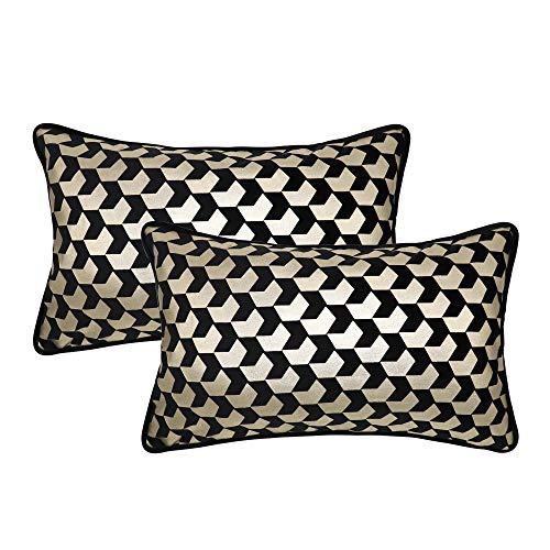 NAVIBULE Pack of 2 Rectangle Throw Pillow Cases 12 x 20 Inch Soft Comfortable Velvet Gold Foil Geometric Chevron Couch Cushion Covers for Sofa Bed Living Room Black