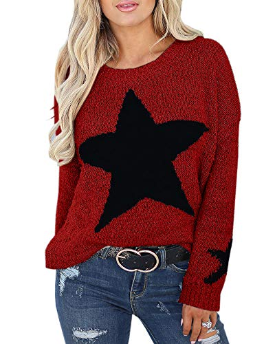 Imily Bela Womens Pullover Sweaters Star Graphic Cable Knit Oversize Winter Jumper Outwears Wine Red ()