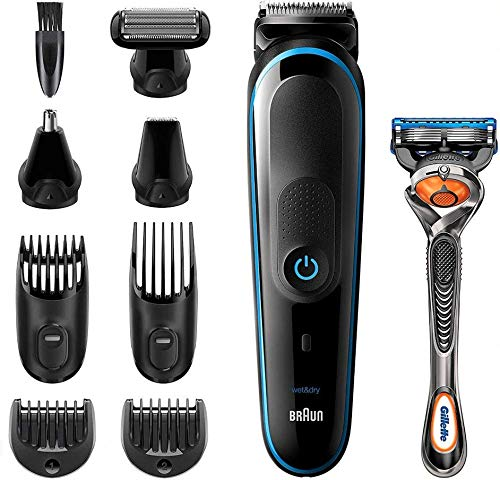 Braun Recortadora MGK5280 9 en 1, Máquina recortadora de barba, set de depilación corporal y cortapelos para hombre, color negro/azul
