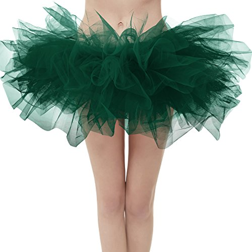 Dresstore Women's Vintage 5 LayeDark Green Tulle Tutu Puffy Ballet Bubble Skirt Dark Green Regular Size]()