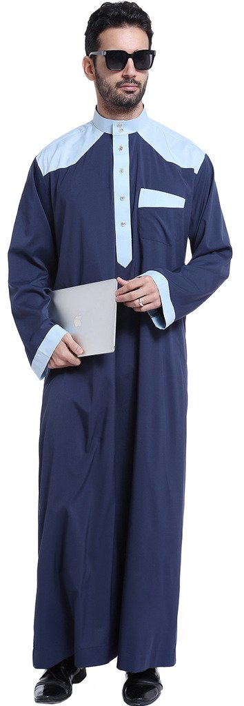Ababalaya Men's Long Sleeve Mock Neck Color Block Muslim Thobes Dishdasha Easter Wear, Navy Blue, XL