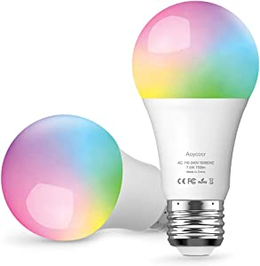 A19 LED Light Bulbs, Smart Bulbs Compatible with Alexa, Google Home Assitant, IFTTT, No Hub Required, Wi-Fi, Dimmable, E26 Base, 6500K Daylight, 750 Lumens, UL ETL Listed, 2 Pack