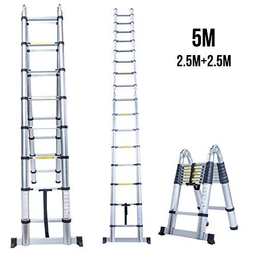 Superworth 5 M Multipurpose Folding Telescopic Ladder A Frame Shape Aluminium Portable Extendable Extension Telescoping Steps For Home Office Indoor...