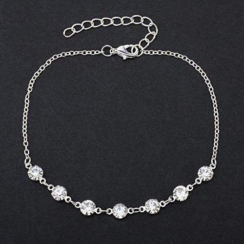 Euone  Ankle Chains, Silver Ankle Bracelet Women Anklet Adjustable Chain Foot Beach Jewelry