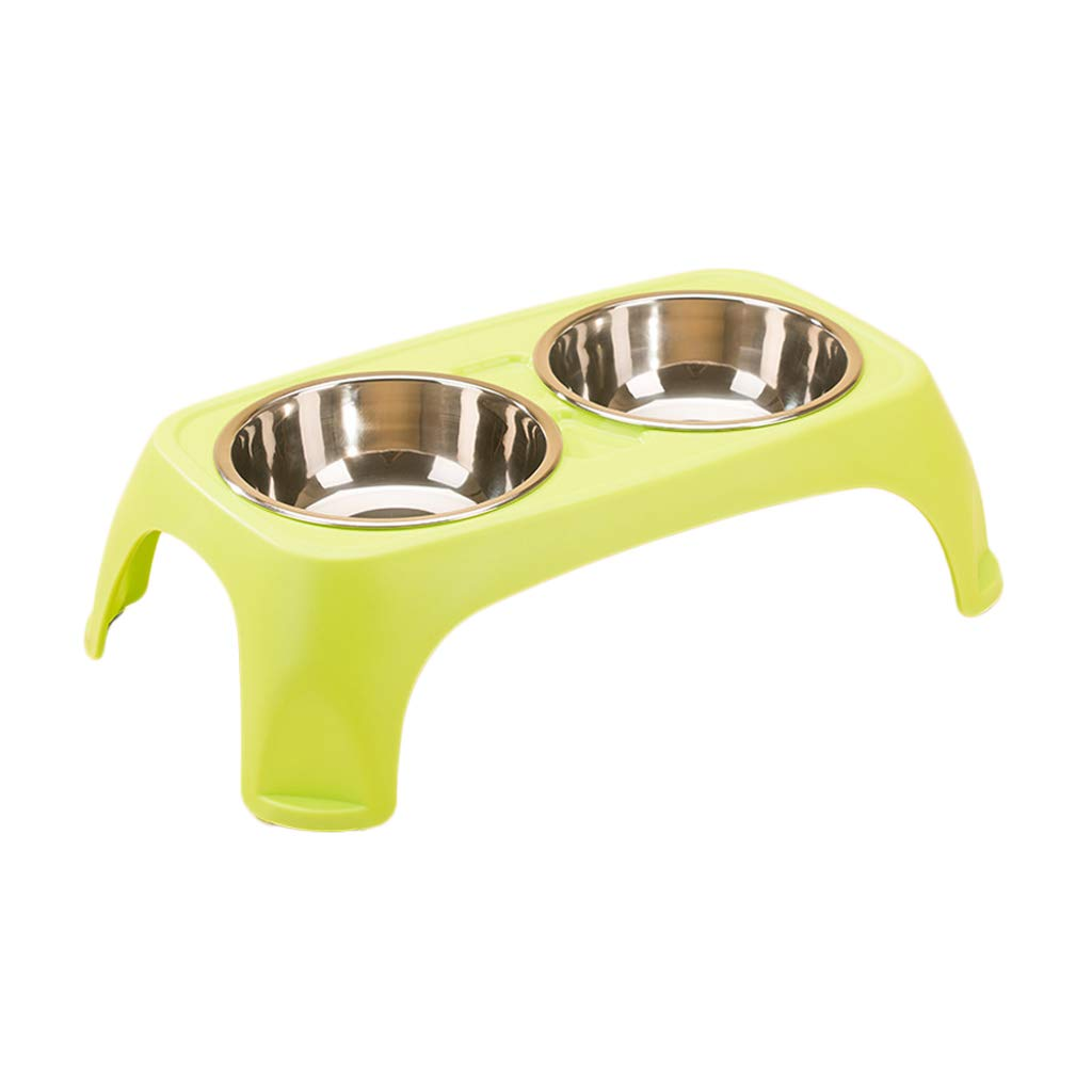 GREEN S GREEN S JIANXIN Cat Bowl, Cat Food Bowl, Double Bowl, Cat Table, Suitable for Cats and Small Dogs (Five colors) (color   Green, Size   S)