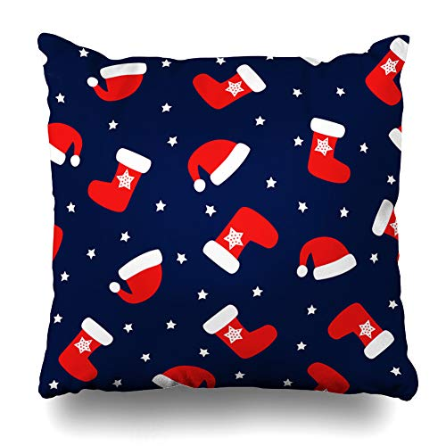 Ahawoso Throw Pillow Cover Boot Christmas Pattern Xmas Socks Stars Santa Hats Merry Happy New Year for Winter Holidays Design Zippered Pillowcase Square Size 18 x 18 Inches Home Decor Pillow Case -
