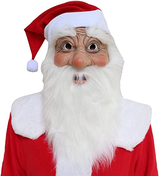 Santa Claus Latex Mask Realistic Full Face Latex Mask White Beard Red Cap Fancy Costume Masquerade Halloween Christmas Party New Years Holiday
