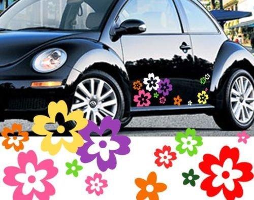 64-Mixed-Color-Wild-Flower-Shape-Vinyl-Car-Decals-External-Fitting