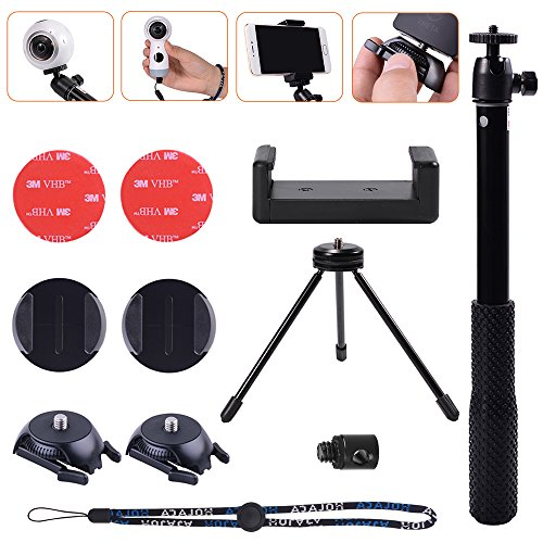 Selfie Solution Kit with Tripod Stand&Adhesive Quick Release for Samsung Gear 360,Gear 360 2017 Edition Cam,360fly 360° Cam, Ricoh Theta S SC M15 Theta V &LG 360 CAM,Garmin Virb 360 Camera by HOLACA by HOLACA