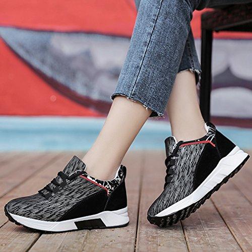 Hoxekle Womens Sneakers Con Zeppa Nascoste Con Tacco Alto Scarpe Sportive Con Plateau In Pelle Scamosciata Di Alta Moda Nero