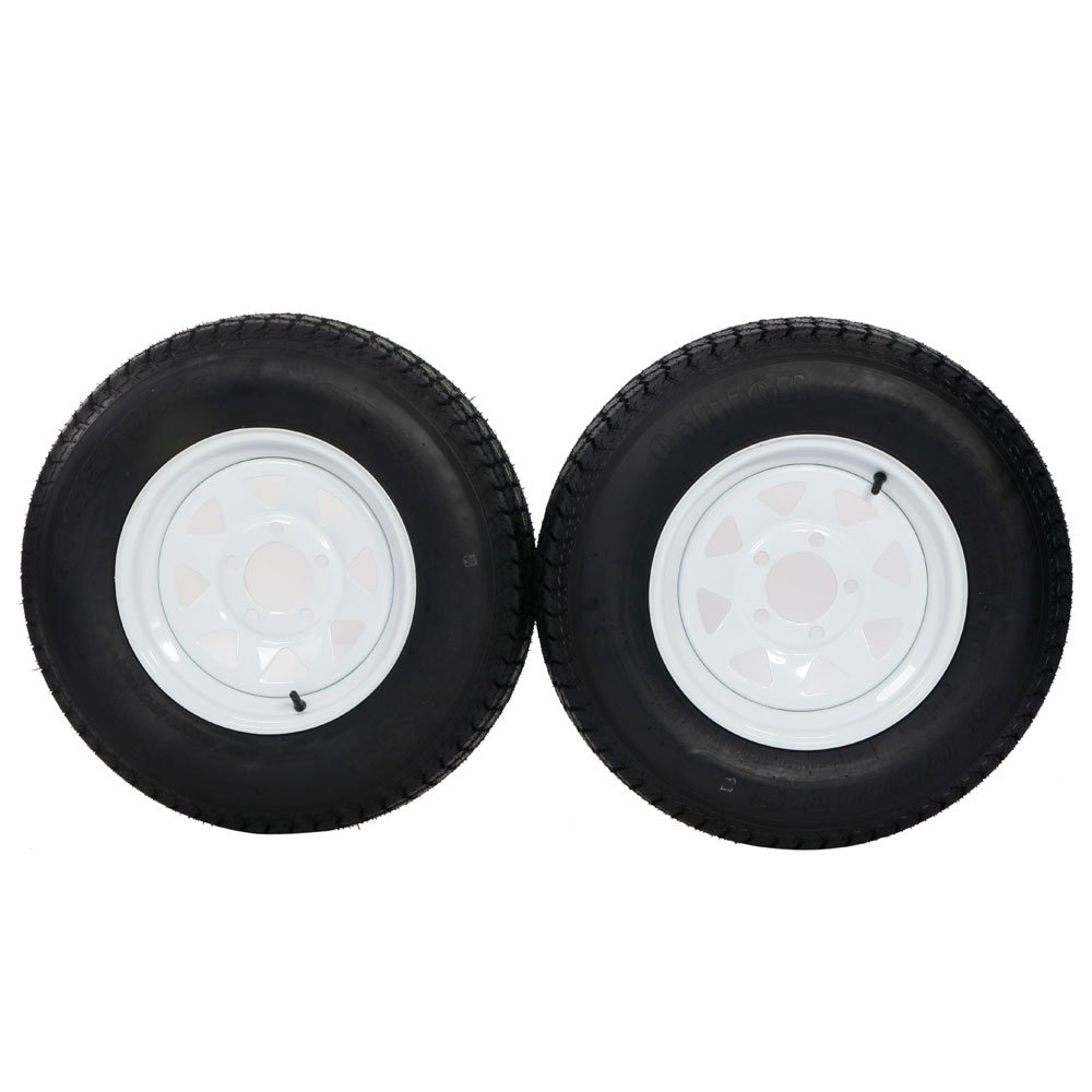 Bias ST175/80d13 trailer tire and wheel 13'' White Spoke Trailer Wheel (5x4.5) bolt circle Pack of 2 by Motorhot (Image #6)