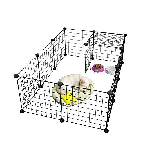 LANGRIA 24 PCS Pet Playpen, DIY Small Animal Cage for Guinea Pigs, Puppy | Pet Products Portable Metal Wire Yard Fence (Black)
