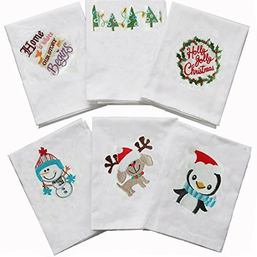 Napkins Stamped Embroidery - Cotton Napkins Fresh Household 6Pack Christmas Napkin Table Mats Embroidery Dining Baking Mat