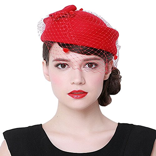 Maitose Women's Decorative Bow Wool Beret Red