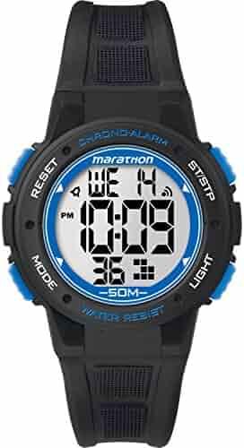 Marathon by Timex Unisex TW5K84800 Digital Mid-Size Black/Blue Resin Strap Watch