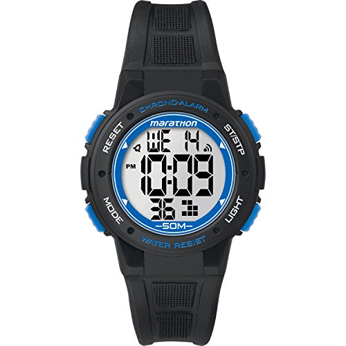 Marathon by Timex Unisex TW5K84800 Digital Mid-Size Black/Blue Resin Strap (Chrono Ladies Watch)