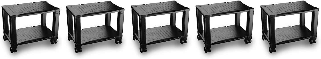 Home-Complete Printer Stand-2-Tier Under Desk Table for Fax, Scanner, Printer, Office Supplies-Compact and Mobile with Wheels for Portable Storage: Furniture & Decor