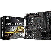 MSI ProSeries AMD Ryzen B350 DDR4 VR Ready HDMI USB 3 micro-ATX Motherboard (B350M PRO-VDH)