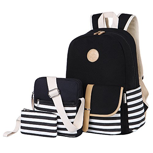 (BLUBOON Teens Canvas Backpack Girls School Bags Set Bookbags Shoulder bag Pouch 3 in)