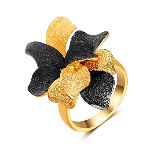 Aprilery 2 Color Tone Black and Gold Mental Blooming Flowers Fashion Rings