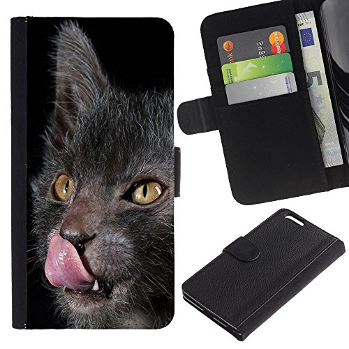 TaiTech / Housse Coque étui Etui en cuir - Lykoy Cat Licking Tongue Grey Yellow - Apple Iphone 6 PLUS 5.5