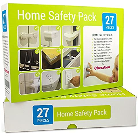 Cheraboo Toddler Home Safety Kit - Best Child Protection Pack For Kitchen Cupboard Locks, Corner Guards and Anti Tip TV/Furniture Straps - Large 27 Piece Baby Proofing Set.