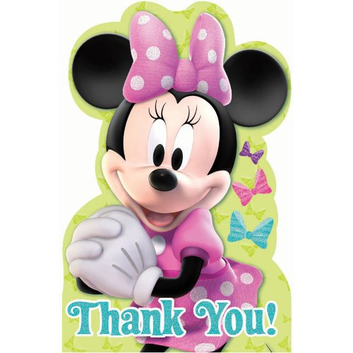 Disney Minnie Mouse Birthday Party Postcard Thank You Cards Supplies (8 Pack), Lime Green/Baby Blue, 5 7/9